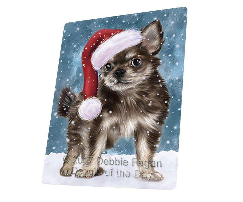 Let it Snow Christmas Holiday Chihuahua Puppy Dog Wearing Santa Hat Large Refrigerator / Dishwasher Magnet D071