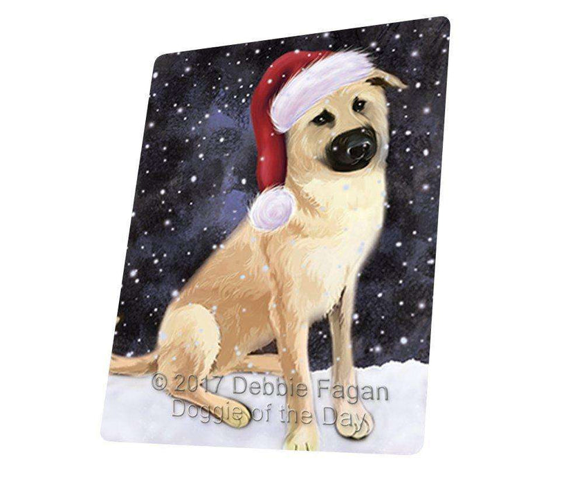 Let it Snow Christmas Holiday Chinook Dog Wearing Santa Hat Art Portrait Print Woven Throw Sherpa Plush Fleece Blanket D075