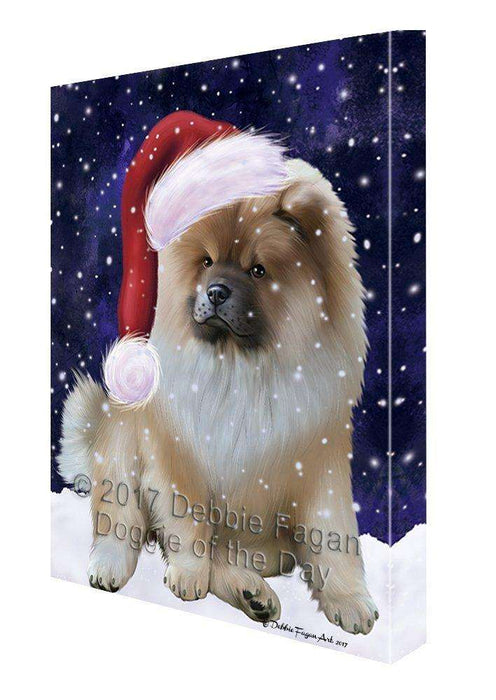 Let it Snow Christmas Holiday Chow Chow Dog Wearing Santa Hat Canvas Wall Art