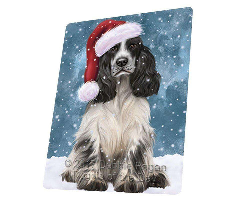 Let it Snow Christmas Holiday Cocker Spaniel Dog Wearing Santa Hat Art Portrait Print Woven Throw Sherpa Plush Fleece Blanket D082