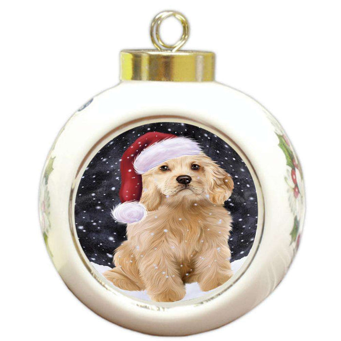 Let it Snow Christmas Holiday Cocker Spaniel Dog Wearing Santa Hat Round Ball Christmas Ornament RBPOR54293