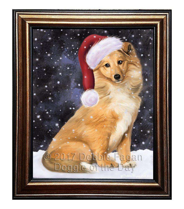 Let it Snow Christmas Holiday Collie Dog Wearing Santa Hat Framed Canvas Print Wall Art D037