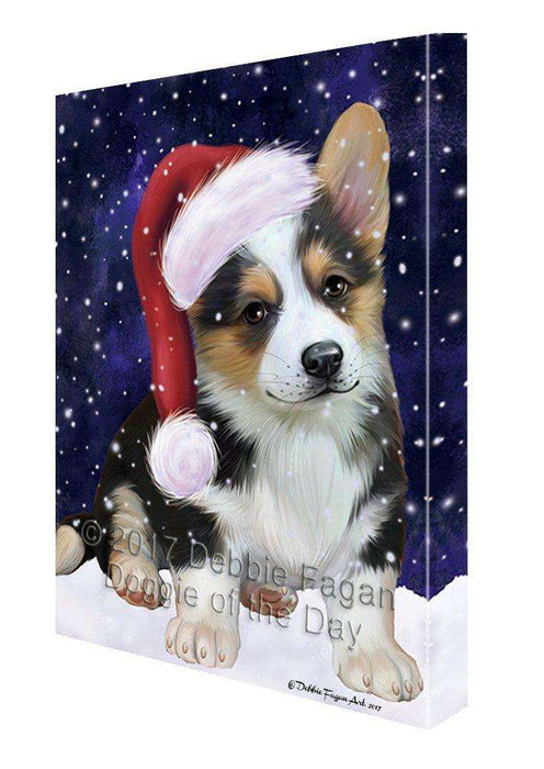 Let it Snow Christmas Holiday Corgi Dog Wearing Santa Hat Canvas Wall Art