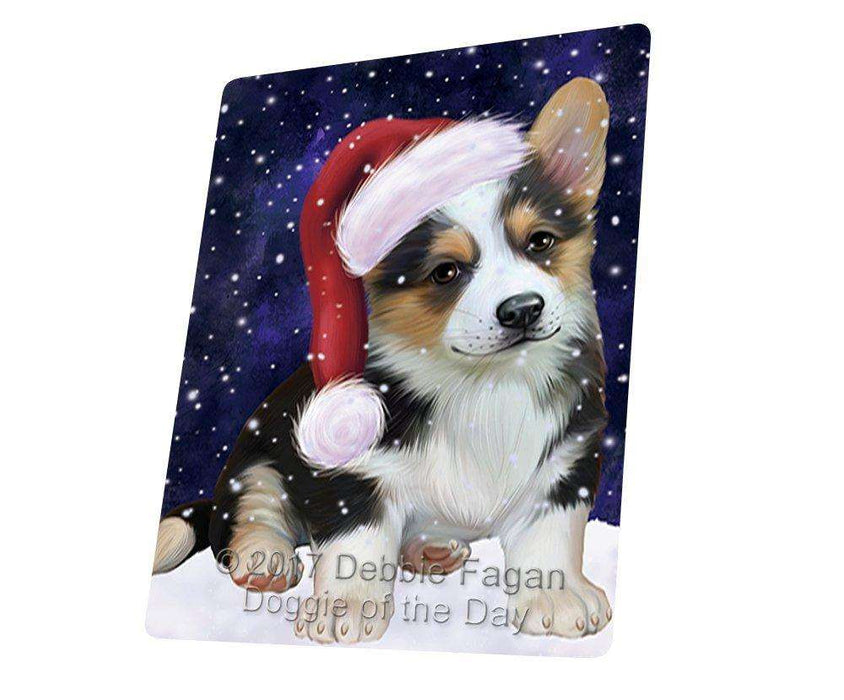 Let it Snow Christmas Holiday Corgi Dog Wearing Santa Hat Large Refrigerator / Dishwasher Magnet D074
