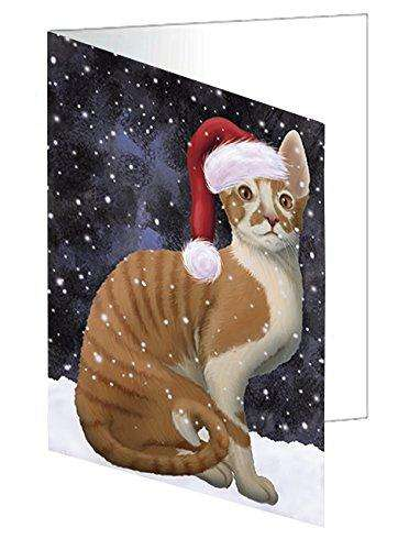 Let it Snow Christmas Holiday Cornish Red Cat Wearing Santa Hat Greeting Card D399