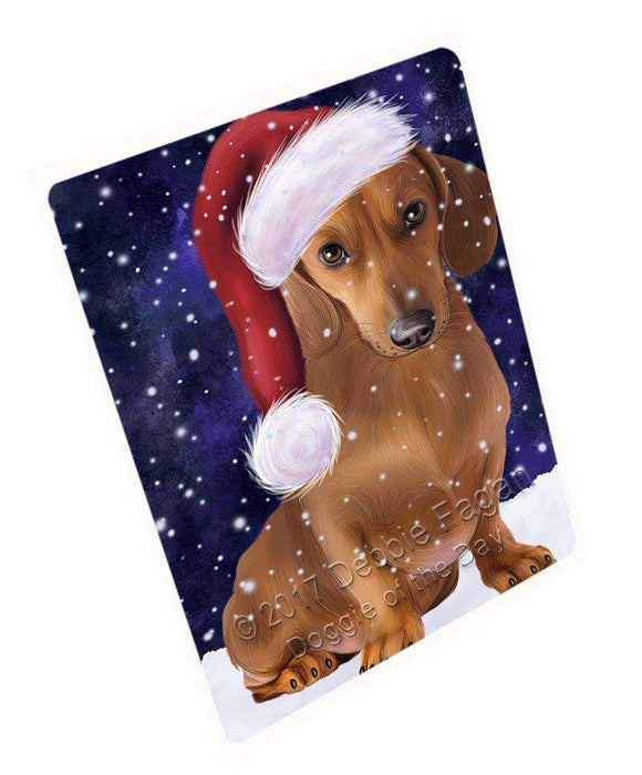 "Let It Snow Christmas Holiday Dachshund Dog Wearing Santa Hat Magnet Mini (3.5"" x 2"") D030"