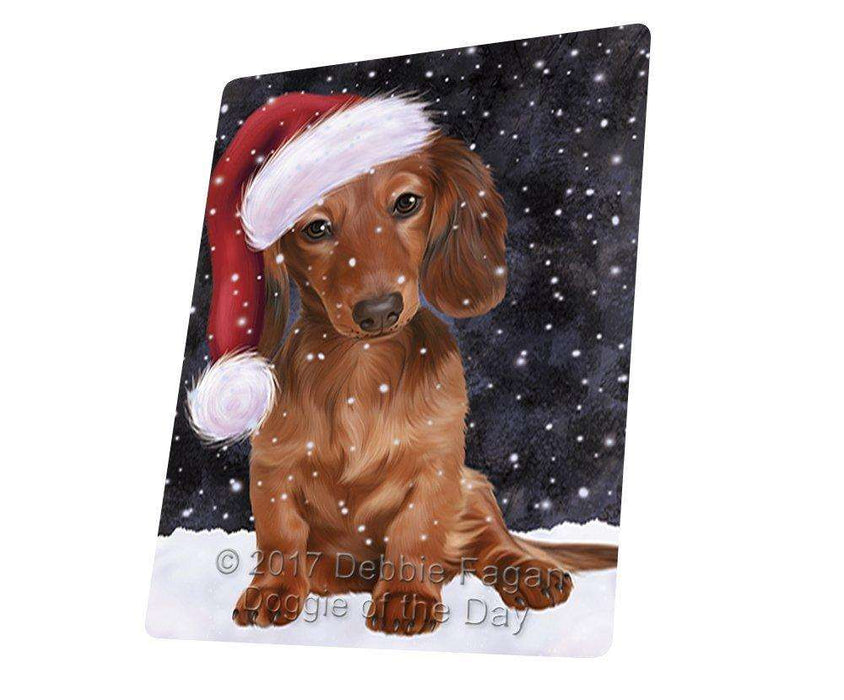 "Let It Snow Christmas Holiday Dachshunds Dog Wearing Santa Hat Magnet Mini (3.5"" x 2"")"