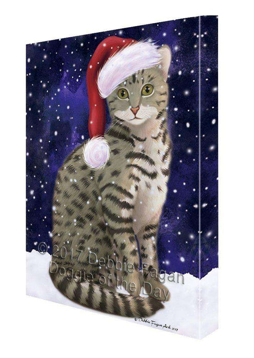 Let it Snow Christmas Holiday Egyptian Mau Cat Wearing Santa Hat Canvas Wall Art