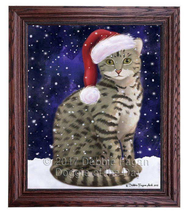 Let it Snow Christmas Holiday Egyptian Mau Cat Wearing Santa Hat Framed Canvas Print Wall Art D041