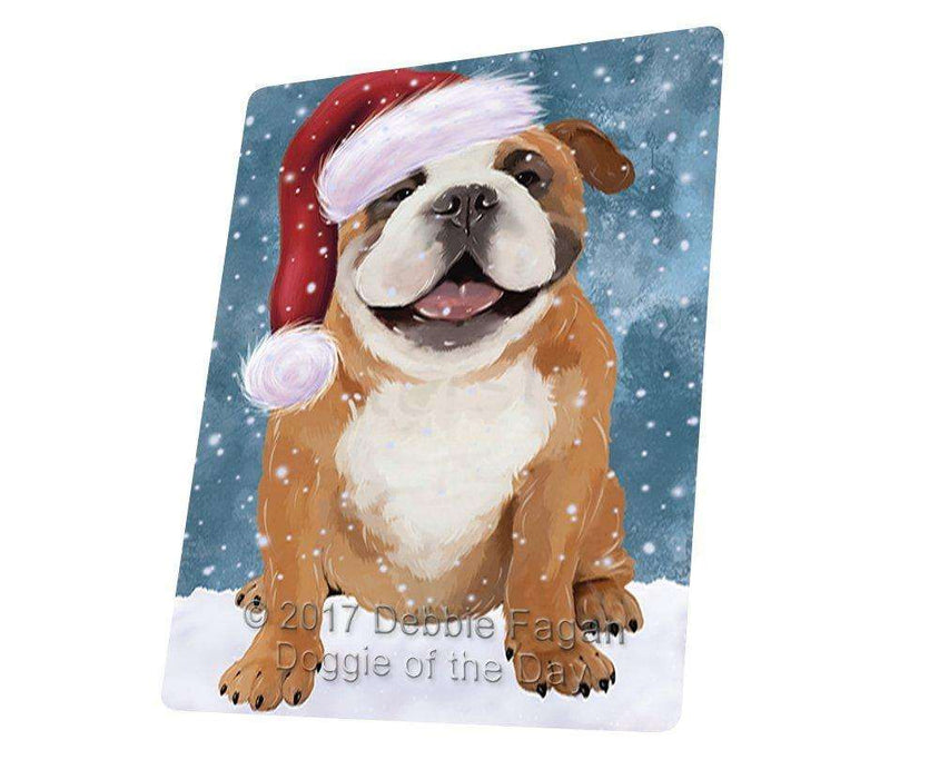"Let It Snow Christmas Holiday English Bulldog Dog Wearing Santa Hat Magnet Mini (3.5"" x 2"") D229"