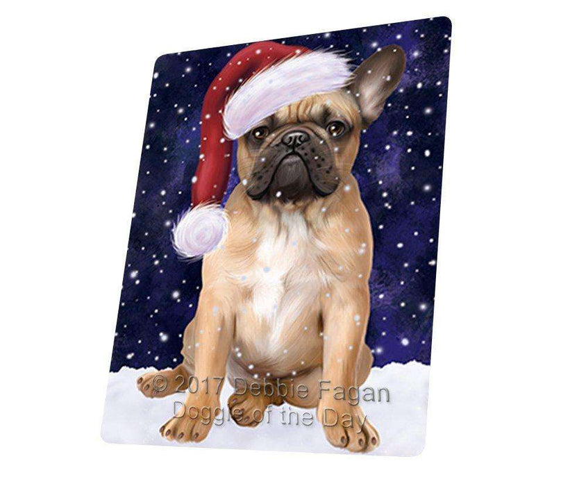Let it Snow Christmas Holiday French Bulldog Dog Wearing Santa Hat Art Portrait Print Woven Throw Sherpa Plush Fleece Blanket D089