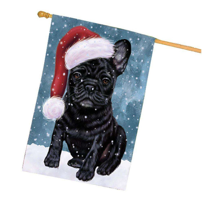 Let it Snow Christmas Holiday French Bulldogs Dog Wearing Santa Hat House Flag