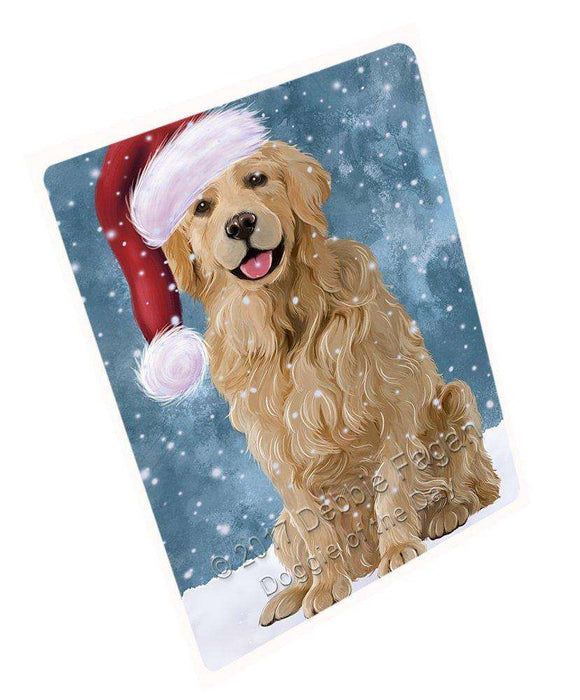 "Let It Snow Christmas Holiday Golden Retriever Dog Wearing Santa Hat Magnet Mini (3.5"" x 2"") D035"