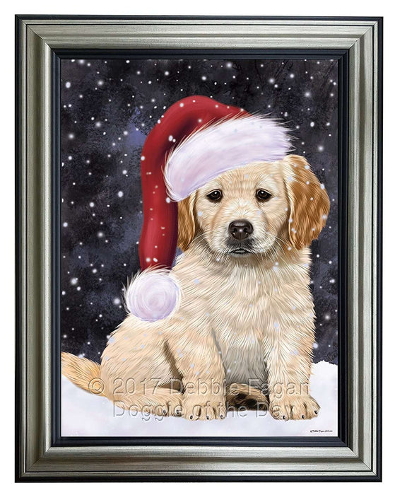 Let it Snow Christmas Holiday Golden Retrievers Dog Wearing Santa Hat Framed Canvas Print Wall Art