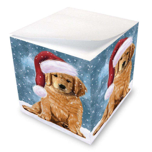 Let it Snow Christmas Holiday Golden Retrievers Dog Wearing Santa Hat Note Cube D322
