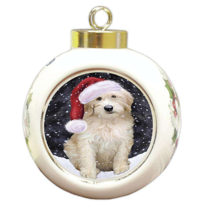 Let it Snow Christmas Holiday Goldendoodle Dog Wearing Santa Hat Round Ball Christmas Ornament RBPOR54294