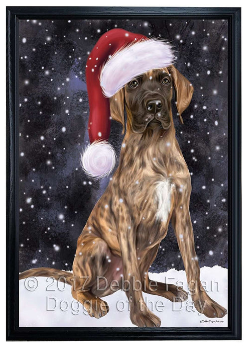 Let it Snow Christmas Holiday Great Dane Dog Wearing Santa Hat Framed Canvas Print Wall Art