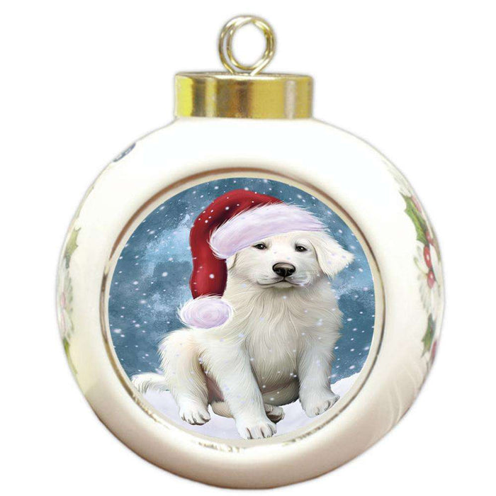 Let it Snow Christmas Holiday Great Pyrenee Dog Wearing Santa Hat Round Ball Christmas Ornament RBPOR54299
