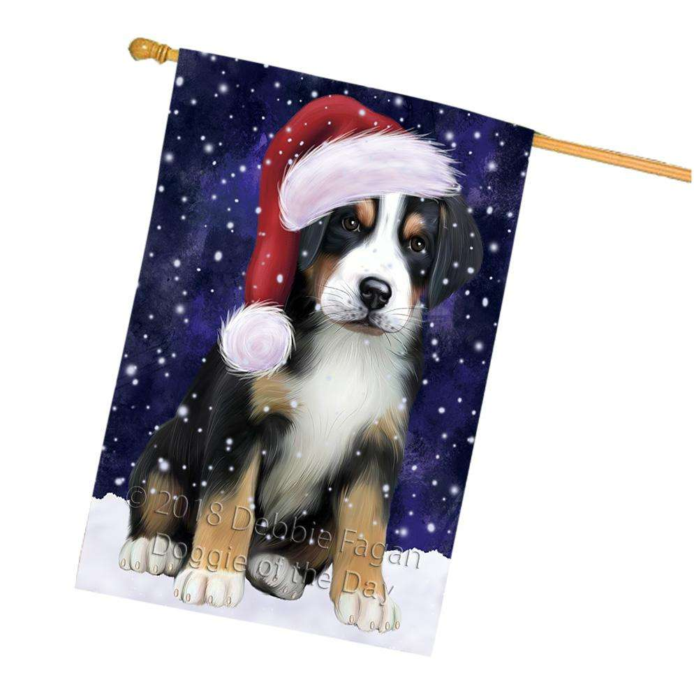 Let it Snow Christmas Holiday Greater Swiss Mountain Dog Wearing Santa Hat House Flag FLG54499
