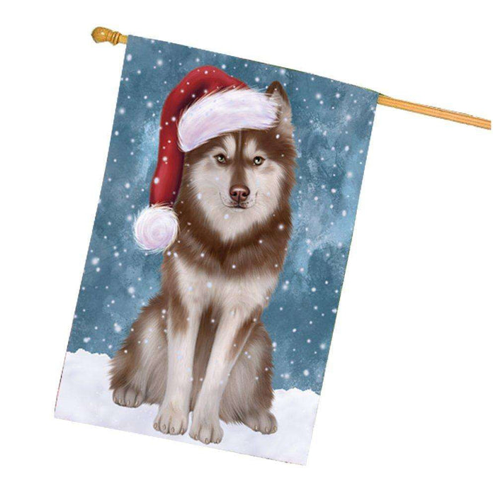 Let it Snow Christmas Holiday Husky Dog Wearing Santa Hat House Flag