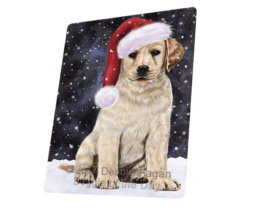 Let it Snow Christmas Holiday Labradores Dog Wearing Santa Hat Tempered Cutting Board