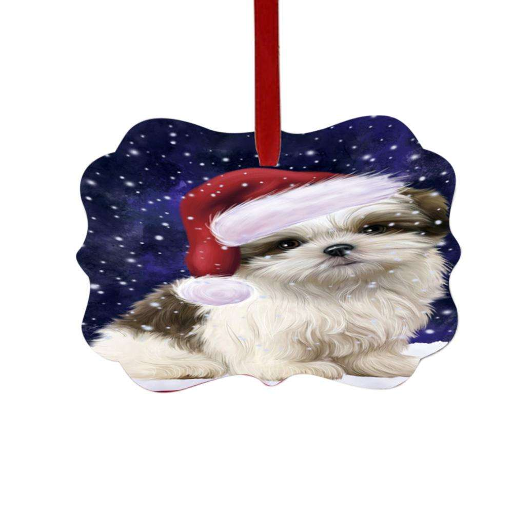 Let it Snow Christmas Holiday Malti Tzu Dog Double-Sided Photo Benelux Christmas Ornament LOR48954