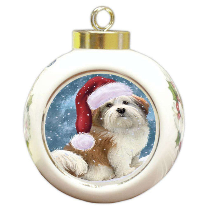 Let it Snow Christmas Holiday Malti Tzu Dog Wearing Santa Hat Round Ball Christmas Ornament RBPOR54318