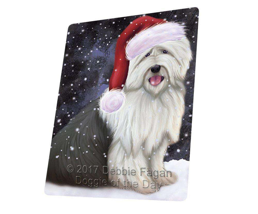 Let it Snow Christmas Holiday Old English Sheepdog Dog Wearing Santa Hat Large Refrigerator / Dishwasher Magnet D236