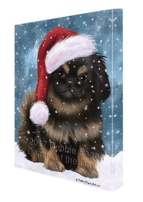 Let it Snow Christmas Holiday Pekingese Dog Wearing Santa Hat Canvas Wall Art