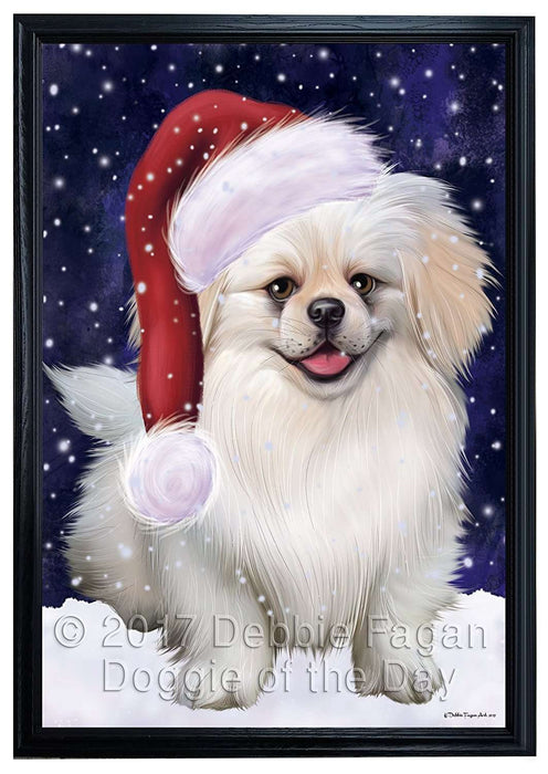 Let it Snow Christmas Holiday Pekingese Dog Wearing Santa Hat Framed Canvas Print Wall Art
