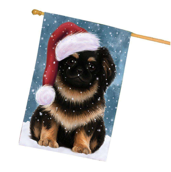 Let it Snow Christmas Holiday Pekingese Dog Wearing Santa Hat House Flag HF460