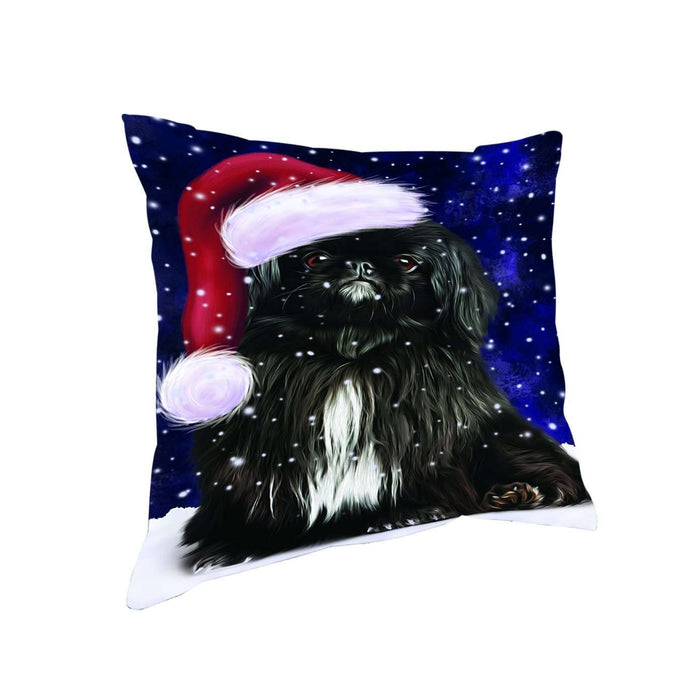 Let it Snow Christmas Holiday Pekingese Dog Wearing Santa Hat Throw Pillow