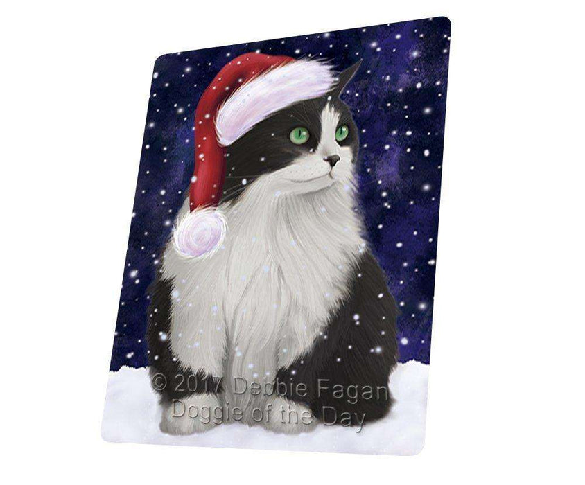 Let it Snow Christmas Holiday Persian Cat Wearing Santa Hat Art Portrait Print Woven Throw Sherpa Plush Fleece Blanket D240