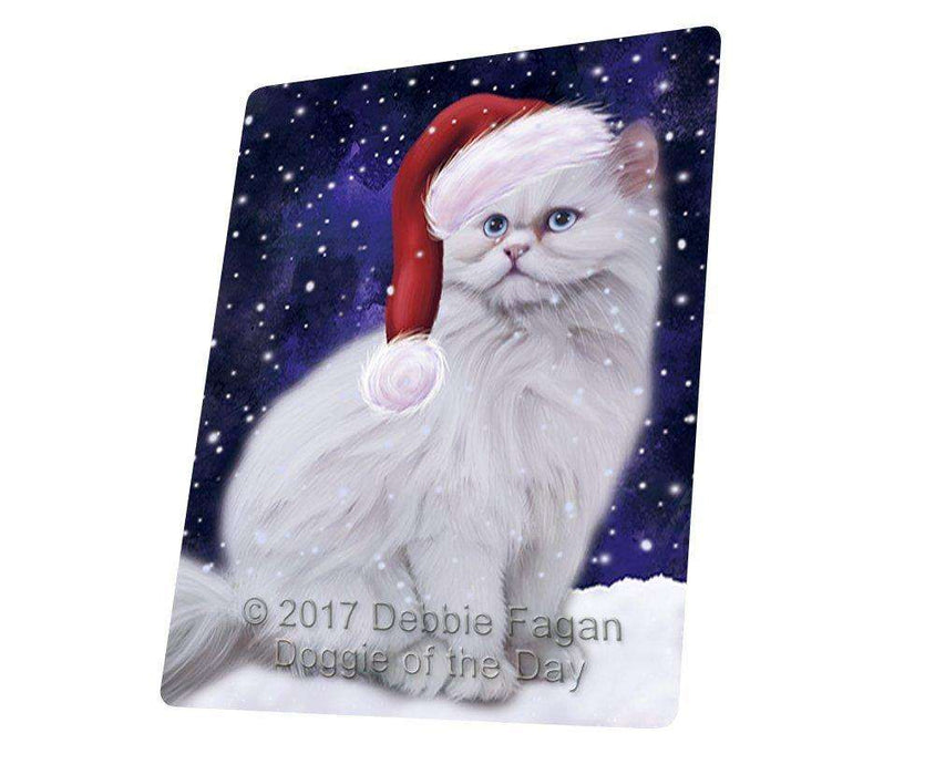 Let it Snow Christmas Holiday Persian Cat Wearing Santa Hat Art Portrait Print Woven Throw Sherpa Plush Fleece Blanket D243