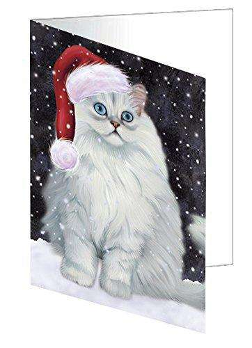 Let it Snow Christmas Holiday Persian Cat Wearing Santa Hat Greeting Card D433