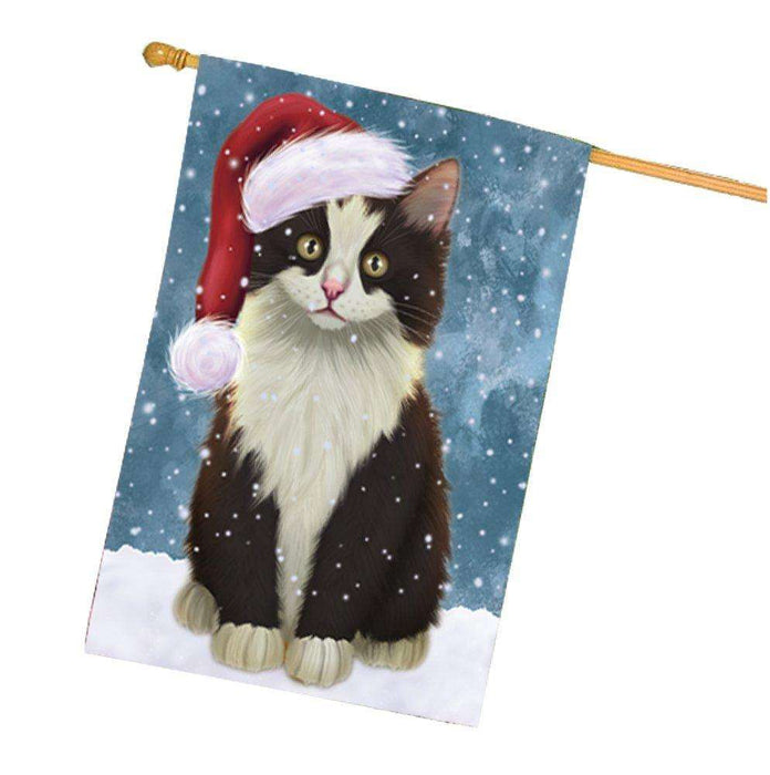 Let it Snow Christmas Holiday Persian Cat Wearing Santa Hat House Flag HF252