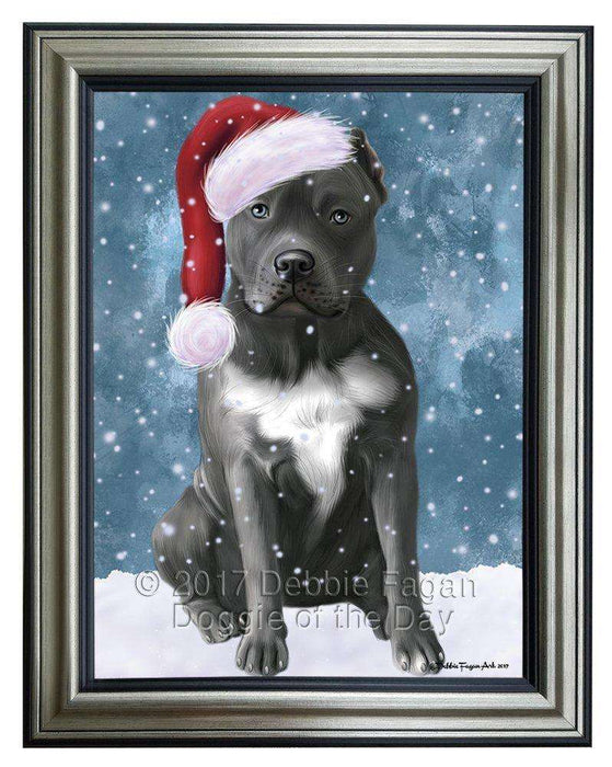 Let it Snow Christmas Holiday Pit Bull Dog Wearing Santa Hat Framed Canvas Print Wall Art D035