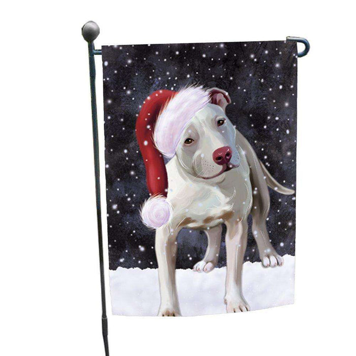 Let it Snow Christmas Holiday Pit Bull Dog Wearing Santa Hat Garden Flag