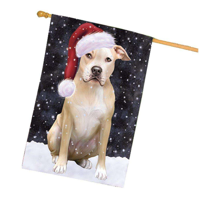 Let it Snow Christmas Holiday Pit Bull Dog Wearing Santa Hat House Flag