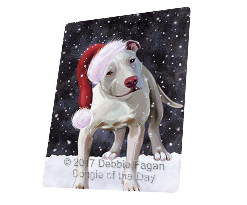 Let it Snow Christmas Holiday Pit Bull Dog Wearing Santa Hat Large Refrigerator / Dishwasher Magnet D011