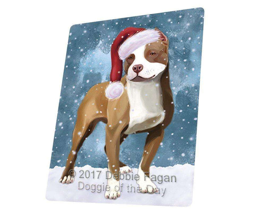 Let it Snow Christmas Holiday Pit Bull Dog Wearing Santa Hat Large Refrigerator / Dishwasher Magnet D245