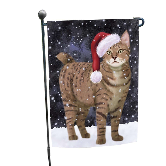 Let it Snow Christmas Holiday Pixie Bob Cat Wearing Santa Hat Garden Flag FLG048