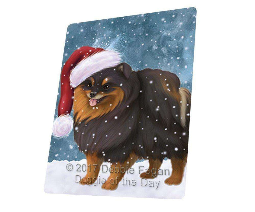 "Let It Snow Christmas Holiday Pomeranian Spitz Dog Wearing Santa Hat Magnet Mini (3.5"" x 2"")"