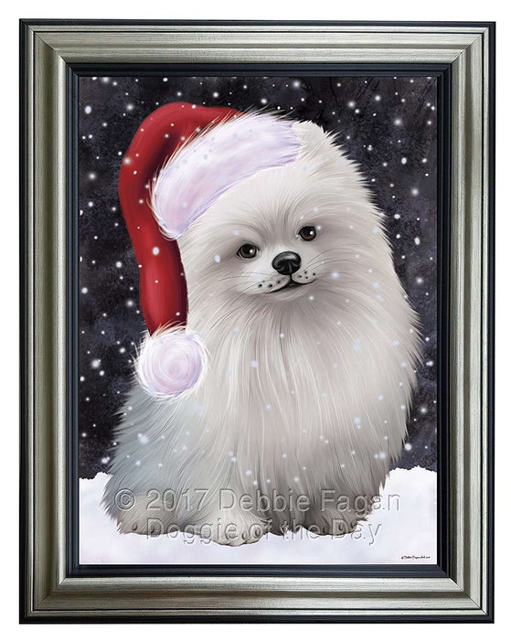 Let it Snow Christmas Holiday Pomeranians Dog Wearing Santa Hat Framed Canvas Print Wall Art