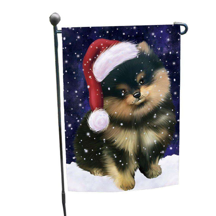 Let it Snow Christmas Holiday Pomeranians Dog Wearing Santa Hat Garden Flag