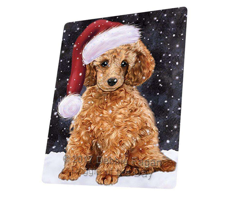 Let it Snow Christmas Holiday Poodle Dog Wearing Santa Hat Art Portrait Print Woven Throw Sherpa Plush Fleece Blanket D016