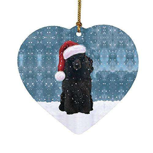 Let it Snow Christmas Holiday Poodle Dog Wearing Santa Hat Heart Ornament D227