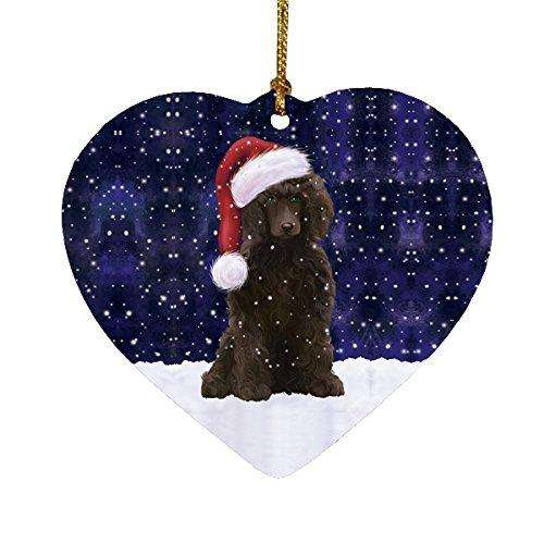 Let it Snow Christmas Holiday Poodle Dog Wearing Santa Hat Heart Ornament D228