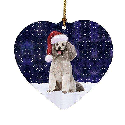 Let it Snow Christmas Holiday Poodle Grey Dog Wearing Santa Hat Heart Ornament D226