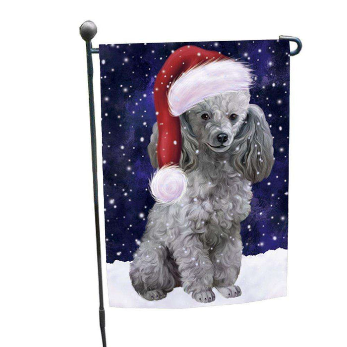 Let it Snow Christmas Holiday Poodles Dog Wearing Santa Hat Garden Flag